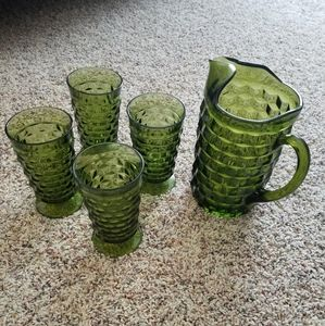 Ceramic pitcher and matching glasses